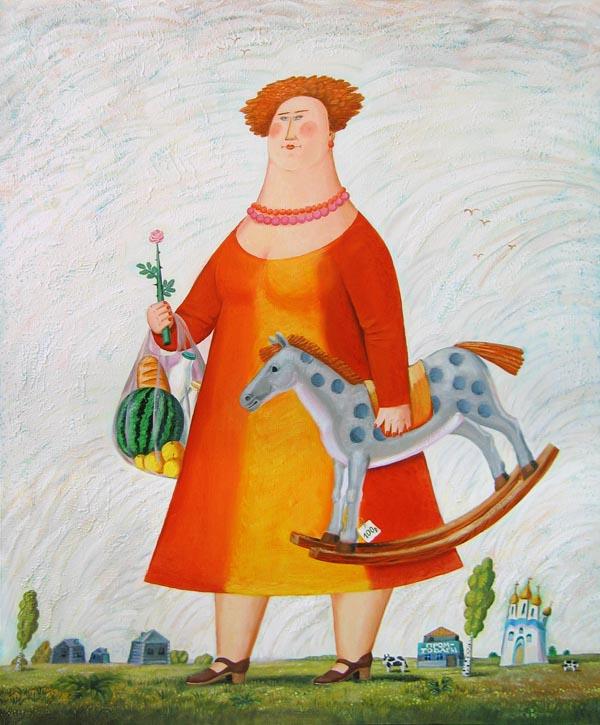 Женщина с конем - холст/масло.