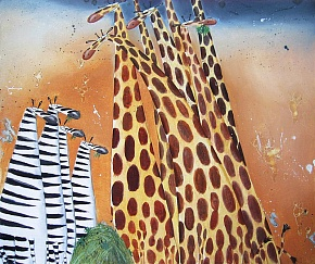 Zebras and giraffes