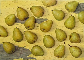 Pears on yellow
