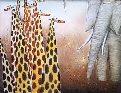 Giraffes and elefant